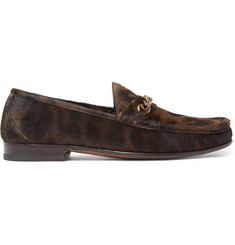 TOM FORD York Chain-Trimmed Leopard-Print Calf Hair Loafers