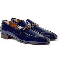 TOM FORD - Peer Chain-Trimmed Textured Patent-Leather Loafers