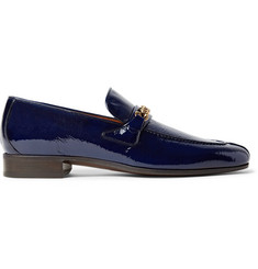 TOM FORD Peer Chain-Trimmed Textured Patent-Leather Loafers