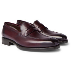 TOM FORD - Wessex Burnished-Leather Penny Loafers