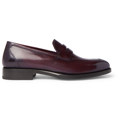 Tom Ford Wessex Burnished-leather Penny Loafers - Burgundy