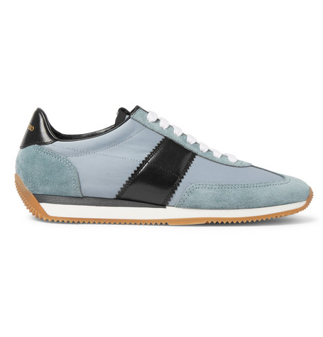 Orford Leather-trimmed Suede Sneakers - BeigeTom Ford JKHaOaMksq