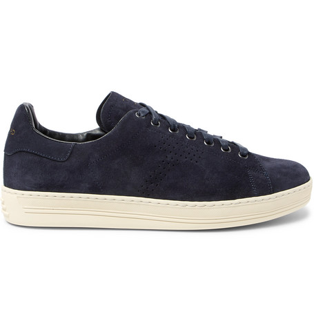 Tom Ford Warwick Perforated Suede Sneakers In Navy