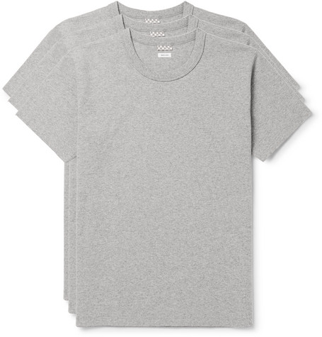 Three-pack Mélange Cotton-jersey T-shirts - Gray