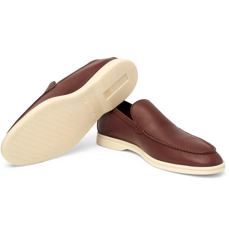 Summer Walk Full-grain Leather Loafers - NavyLoro Piana dli2LIAMve