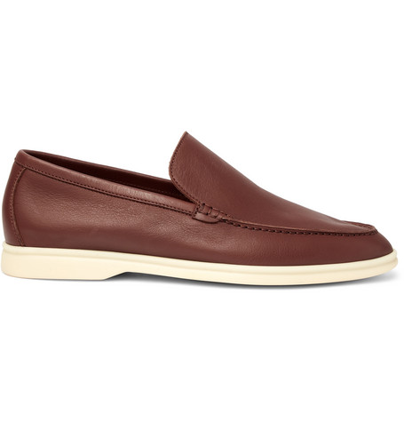 Loro Piana Summer Walk Leather Loafers In Brown