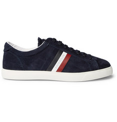 Moncler La Monaco Leather-Trimmed Suede Sneakers
