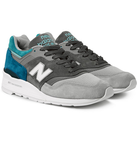 New Balance 997 Nubuck Suede and Mesh Sneakers