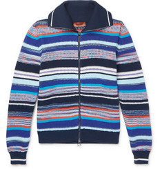Missoni Slim-Fit Striped Knitted Cotton Zip-Up Cardigan