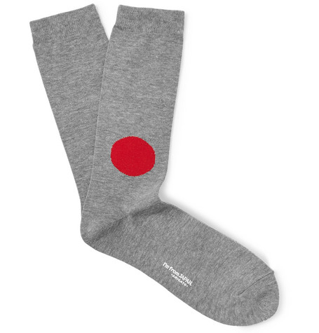 Blue Blue Japan Intarsia Cotton-blend Socks In Gray