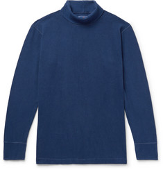 Blue Blue Japan Indigo-Dyed Stretch-Cotton Rollneck T-Shirt
