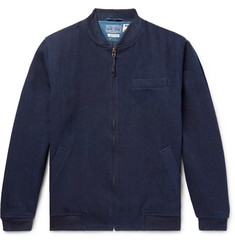 Blue Blue Japan Sashiko-Stitched Indigo-Dyed Denim Bomber Jacket
