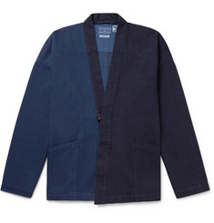 Blue Blue Japan Two-Tone Indigo-Dyed Denim Cardigan