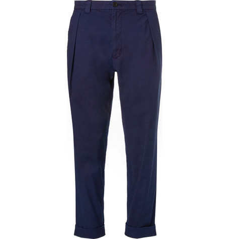 Blue Blue Japan Pleated Indigo-dyed Stretch-cotton Trousers