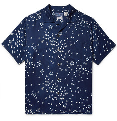 Blue Blue Japan - Camp-Collar Indigo-Dyed Printed Twill Shirt