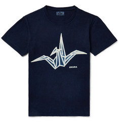 Blue Blue Japan - Printed Indigo-Dyed Cotton-Jersey T-Shirt