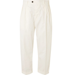 Albam Wide-Leg Cropped Pleated Cotton Trousers