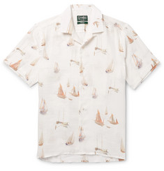 Gitman Vintage Camp-Collar Sailboat-Print Linen Shirt