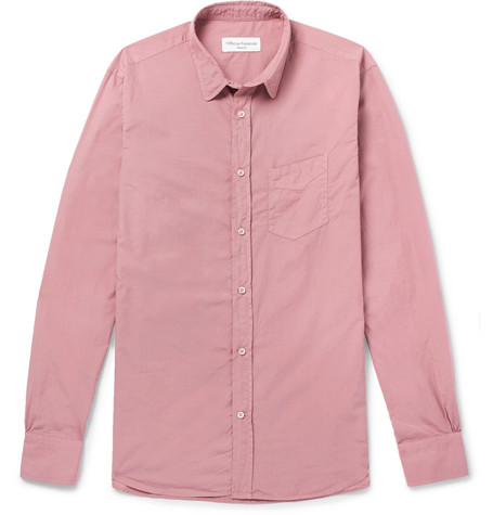 Officine Generale Garment-Dyed Cotton Shirt In Pink