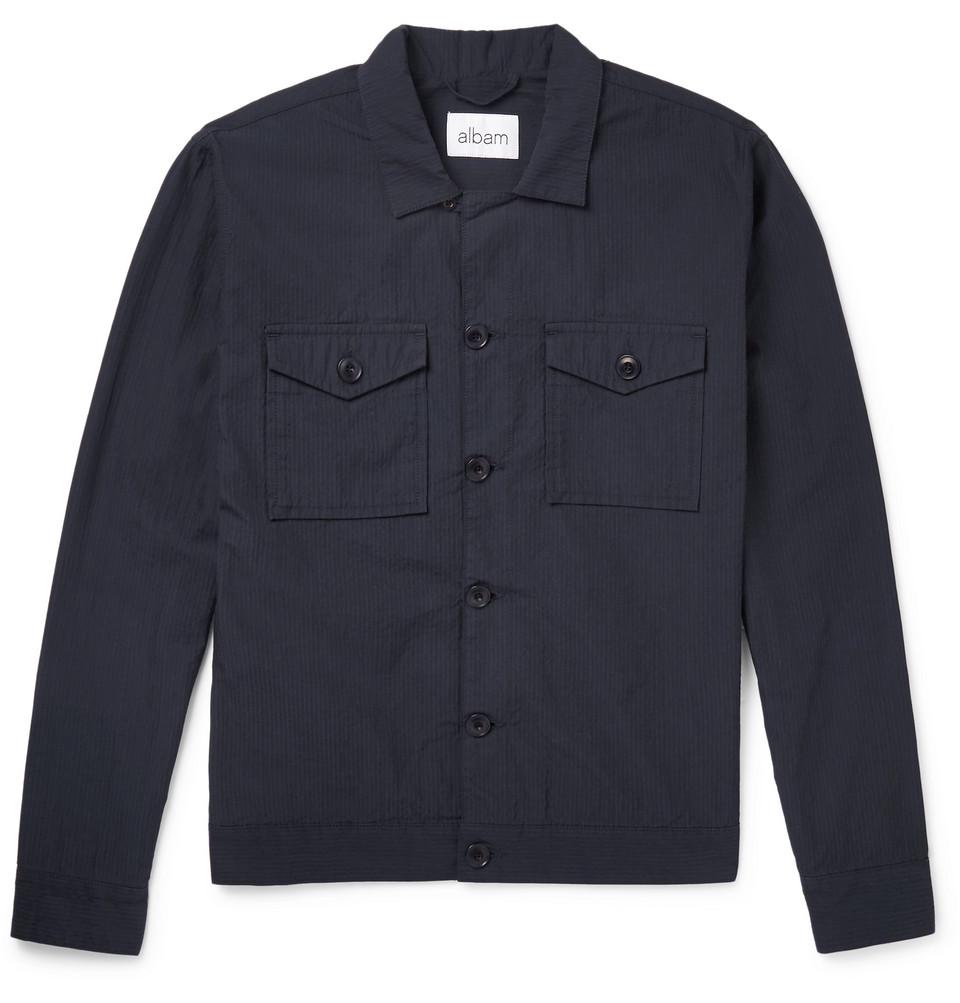 Cotton-seersucker Blouson Jacket - Navy