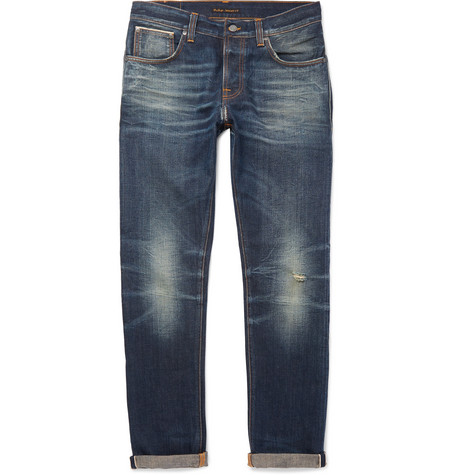 Nudie Jeans Grim Tim Slim-fit Distressed Organic Selvedge Denim Jeans - Mid Denim