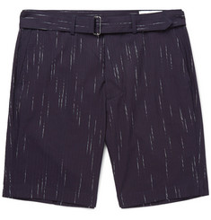 Officine Generale Julian Striped Cotton, Wool and Cashmere-Blend Shorts