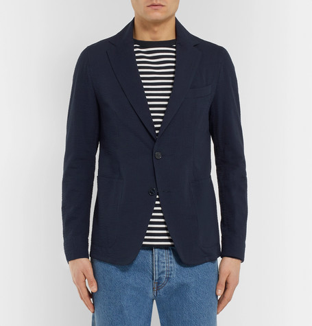 Navy Unstructured Cotton Seersucker Blazer by Officine Generale