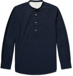 Officine Generale Auguste Grandad-Collar Cotton-Jacquard Shirt