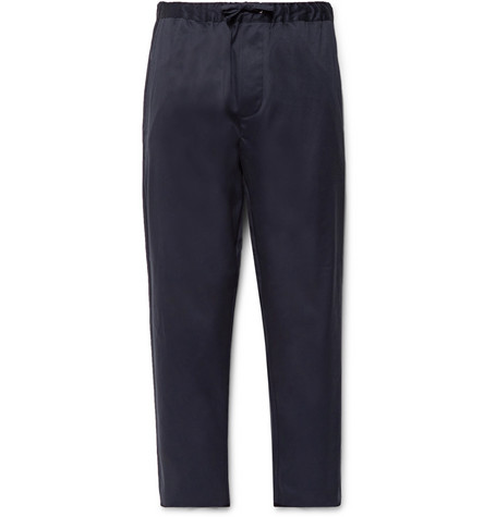 Cotton-twill Drawstring Trousers - Navy