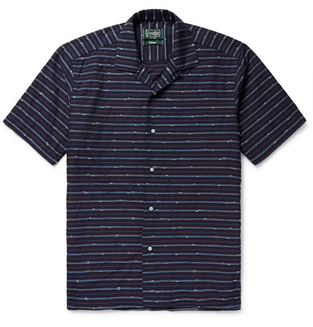 Camp Collar Striped Slub Cotton Blend Shirt by Gitman Vintage