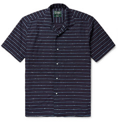 Gitman Vintage Camp-Collar Striped Slub Cotton-Blend Shirt