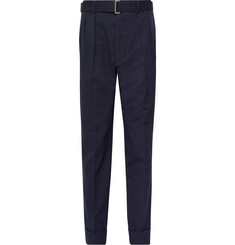 Officine Generale Pierre Slim-Fit Pleated Cotton-Seersucker Trousers