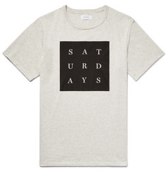 Saturdays NYC Grid Printed Mélange Cotton-Jersey T-Shirt