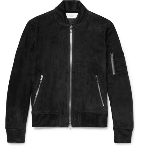 Charlie Suede Bomber Jacket - Dark gray
