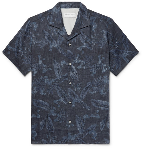 Officine Generale  DARIO CAMP-COLLAR PRINTED COTTON SHIRT - NAVY