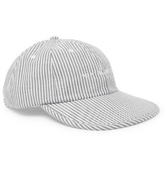 Pop Trading Company Embroidered Striped Cotton-Seersucker Baseball Cap