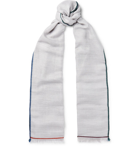 Fringed Contrast-trimmed Cashmere, Silk And Hemp-blend Scarf Loro Piana