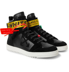 Off-White - Grosgrain and Suede-Trimmed Leather High-Top Sneakers