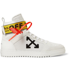 Off-White Grosgrain and Suede-Trimmed Leather High-Top Sneakers