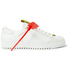 Off-White Grosgrain and Suede-Trimmed Leather Sneakers