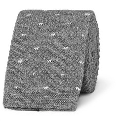 Loro Piana 5cm Polka-Dot Knitted Cotton Tie