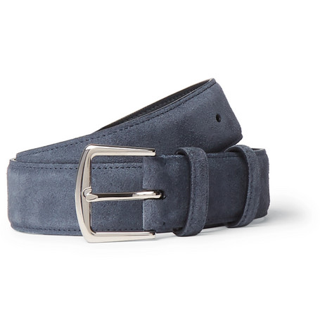 3.5cm Navy Suede Belt - Navy