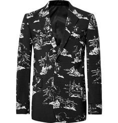 TAKAHIROMIYASHITA TheSoloist. Black Slim-Fit Metal-Tipped Printed Wool-Satin Blazer