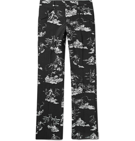 TAKAHIROMIYASHITA THE SOLOIST Black Slim-Fit Printed Wool Suit Trousers