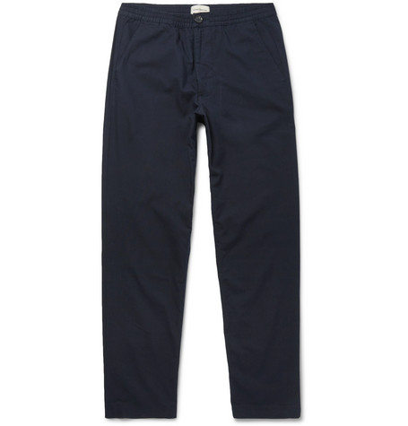 Oliver Spencer Stretch-cotton Drawstring Trousers In Navy