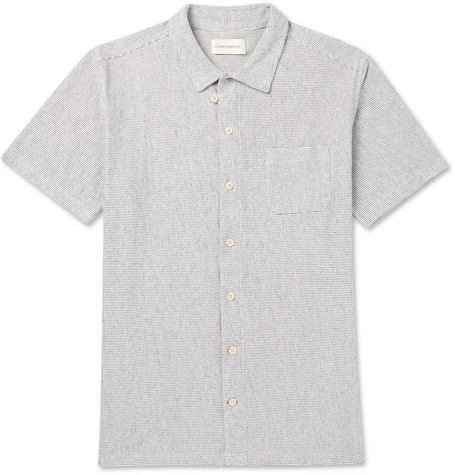 Oliver Spencer Striped Cotton-jersey Shirt In Navy