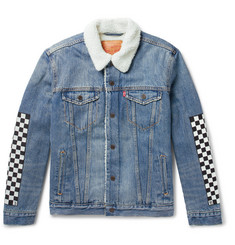 Rhude + Levi's Faux Shearling-Lined Appliquéd Denim Trucker Jacket