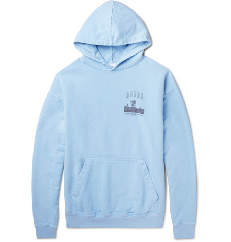 Hoodie Printed In Blue Cotton Jersey Loopback Rhude nFwqx4pIw