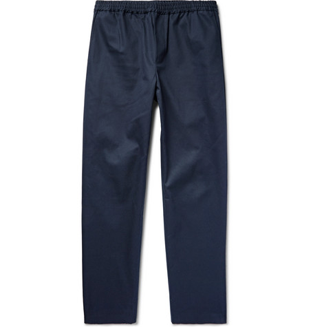 Organic Cotton-twill Drawstring Trousers - Midnight blue