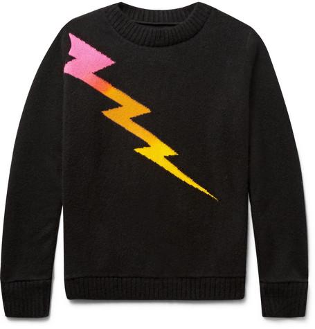 Lightning Bolt Intarsia Cashmere Sweater - Black